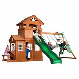 Wooden Swing Set Backyard Cedar Wood Big Playset Large Play