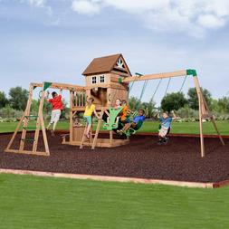 Wooden Swing Set Kids Backyard Play Set Cedar Slide Fort Mon
