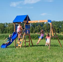 Wooden Swing Set Kids Cedar Playground Slide Outdoor Backyar