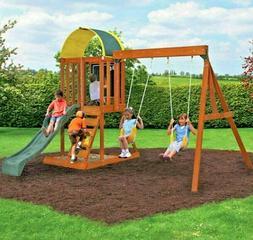 Wooden Swing Set Outdoor Backyard Kids Children Play Slide C