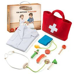 Kiddie Woods Wooden Toy Doctor Kit for Kids, Pretend Medical