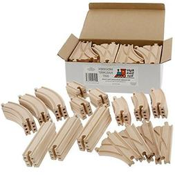 54 Piece Wooden Train Track Builders Set Of Wooden Tracks Co