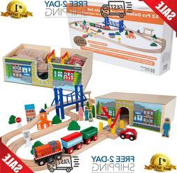 Wooden Train Track Lot Set Deluxe Railroad Wood Bridge Brio