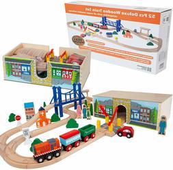 Wooden Train Track Lot Set Deluxe Wood Bridge Railroad Thoma