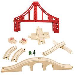 OrgMemory Wooden Train Track Set, Wooden Railway, Suspension