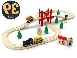 🚝Wooden Train Tracks Set For Kids Toddler Toy Children Pl