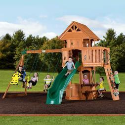 Woodland Cedar Wood Swingset Playground Slide Clibming Wall