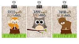 Set of 3 Woodland Nursery Wall Art - Fox Owl Bear - Stay Cle