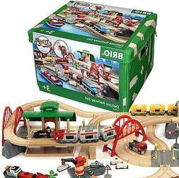 Brio World 33052 Deluxe Railway Set | Wooden Toy Train Set f