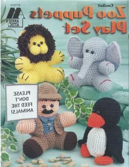 ZOO PUPPETS PLAY SET to Crochet ~ Zookeeper & 9 Animals ~ An